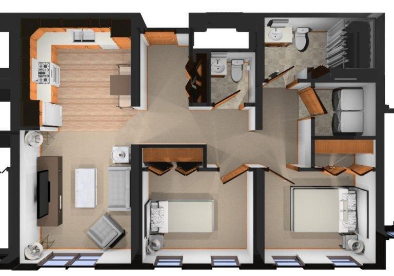 Two bedrooms, 1.5 bath