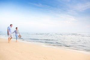 Seniors enjoying summer at the beach