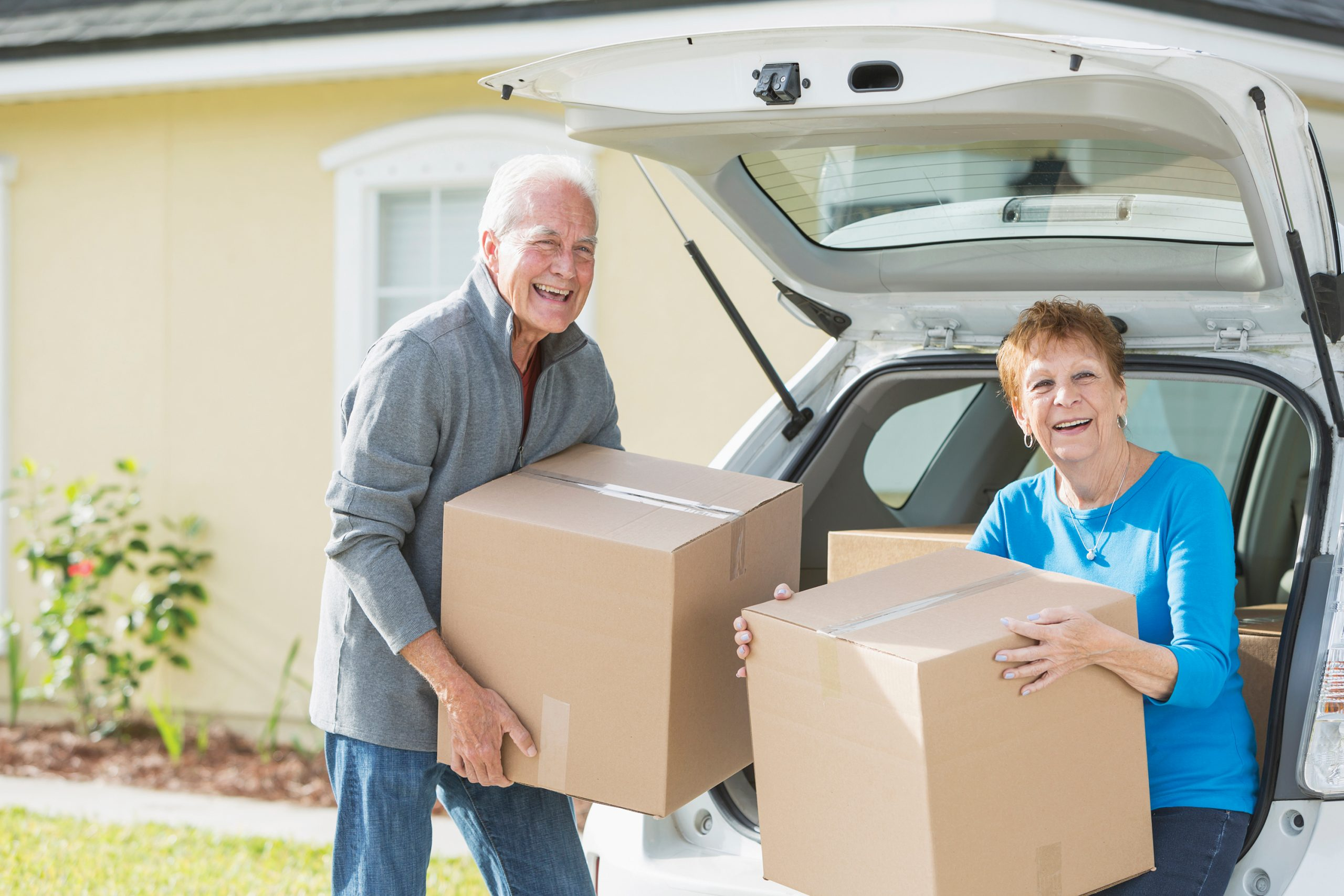 Senior couple moving to a new home